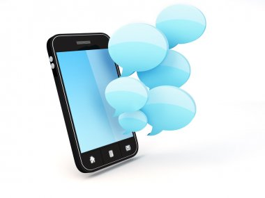 Smartphone with speech bubbles