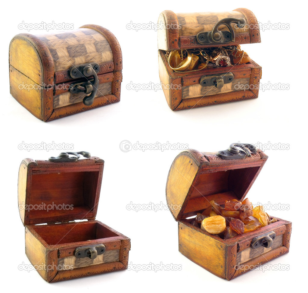 Wooden chests in set
