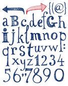 Fotografie Vektor-Alphabet. Hand gezeichneten Buchstaben  Zahlen