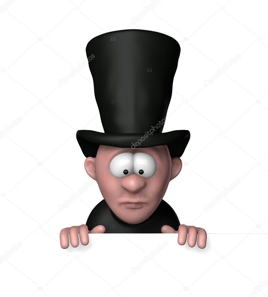 Enterrador de dibujos animados con gran sombrero negro y blanco en blanco  del tablero 3d - ilustración — Foto de drizzd a412044c65b