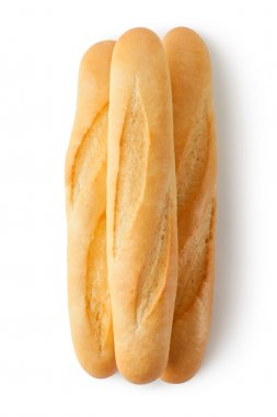 Three short baguettes. Top view