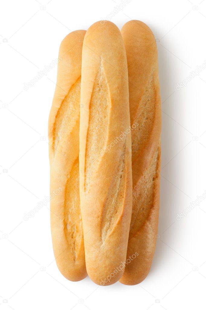 Three short baguettes. Top view