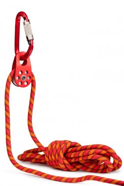 Climbing equipment - pulley, rope, carabiner