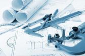 Fotografie The plan industrial details, a screws, caliper, divider,micromet