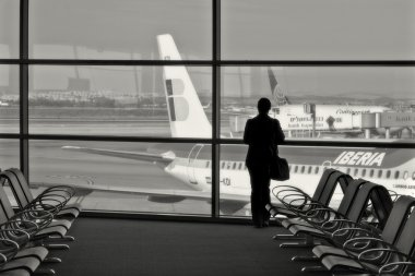Passenger in airport terminal.