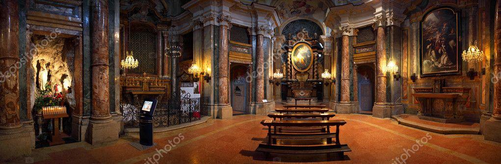 Catholic church interior panoramic view.