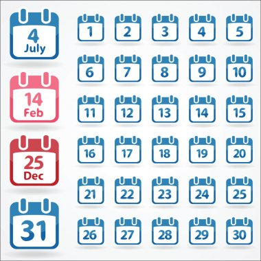 Set of calendar icons for every day. Vector illustration stock vector