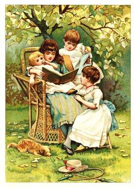 Children read the book