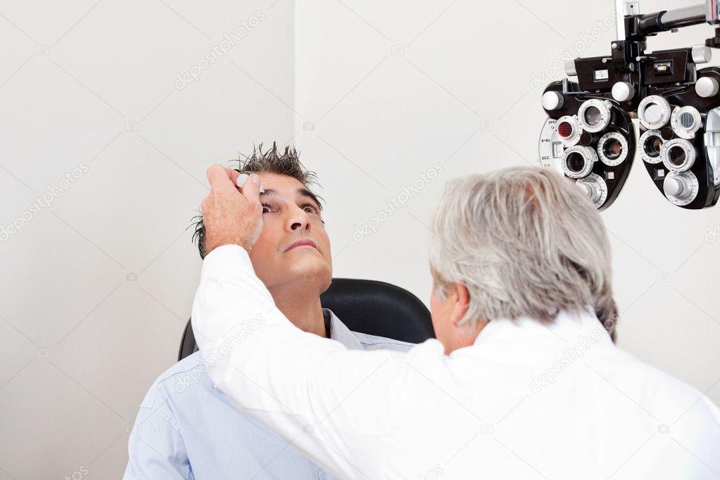 mydriatics to anesthize the eyes stock photo