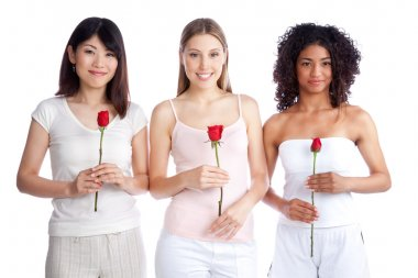 Multiethnic Woman Holding Rose