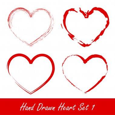 Hand drawn heart set 1 vector illustration clip art vector