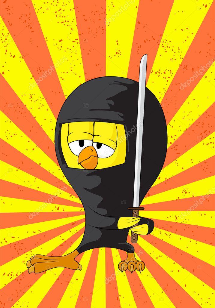 Pulcino ninja dei cartoni animati u vettoriali stock chisnikov