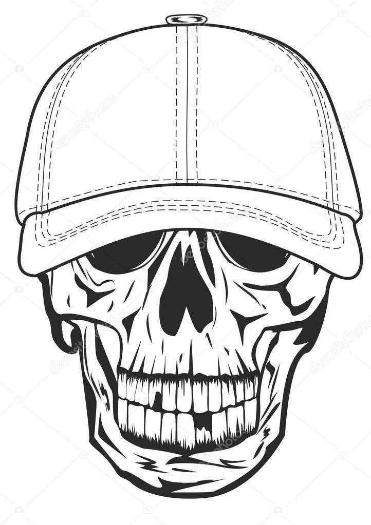 calavera en la gorra de béisbol — Archivo Imágenes Vectoriales ...