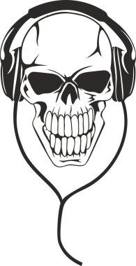 Skull in stereo ear-phones