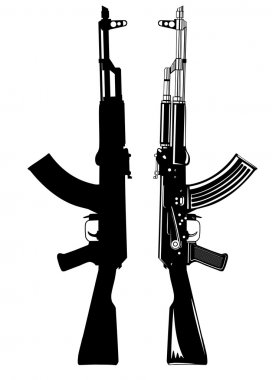 Vector image of the automatic machine AK 47 stock vector