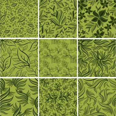Big set of Seamless patterns with leafs