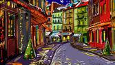 Zimní krajina s ilustrovanou město v noci