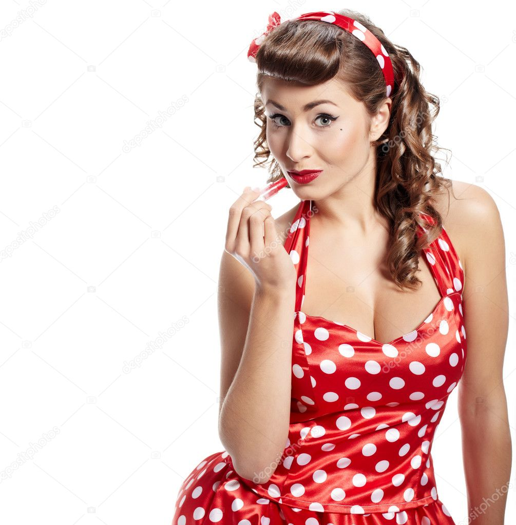 pin up woman applying her make up stock photo zoomteam 9028328. Black Bedroom Furniture Sets. Home Design Ideas