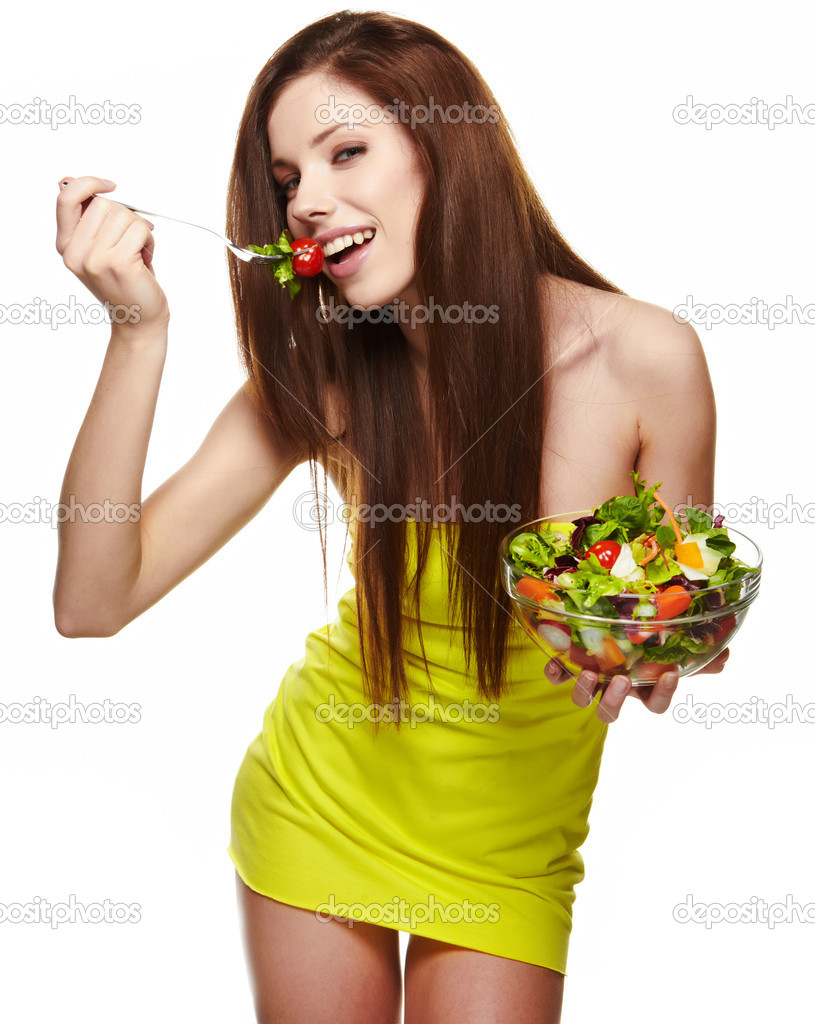 660cf2dbb2a36 Happy healthy woman with salad — Stock Photo © zoomteam  9331847
