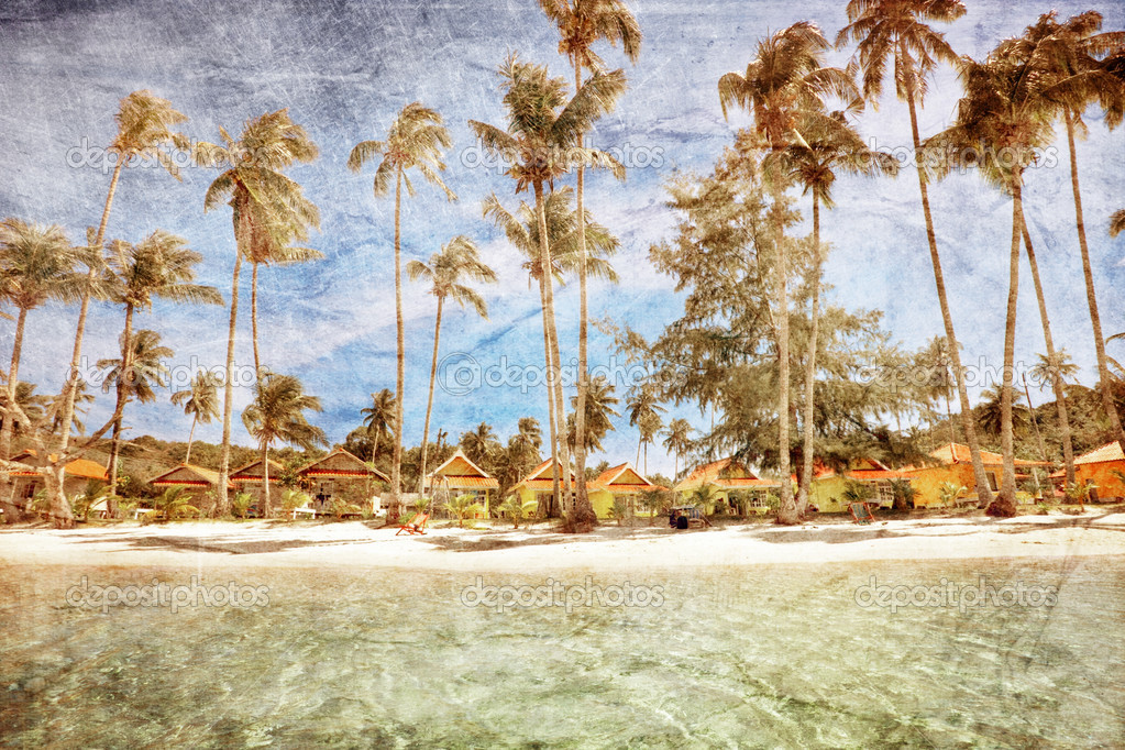Exotic tropical beach in retro style