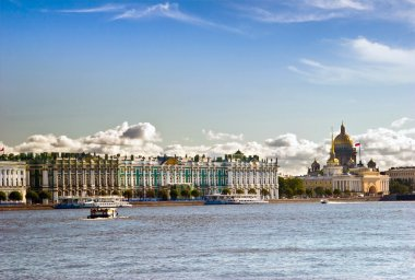 View on tne Neva river and St Isaac's Cathedral. St. Petersburg,
