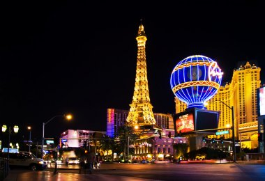 Night View from Strip on the replica of Eiffel Tower at Paris Ho