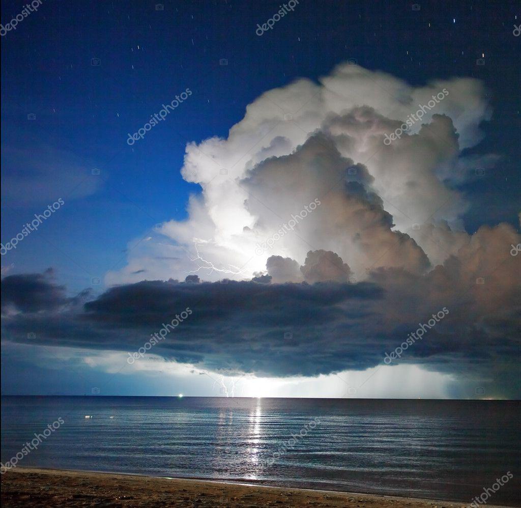 Lightning above the sea. Thailand