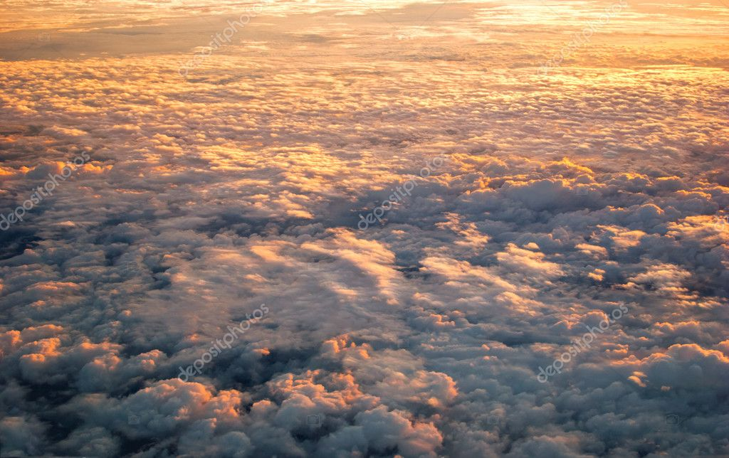Spectacular view of a sunset above the clouds