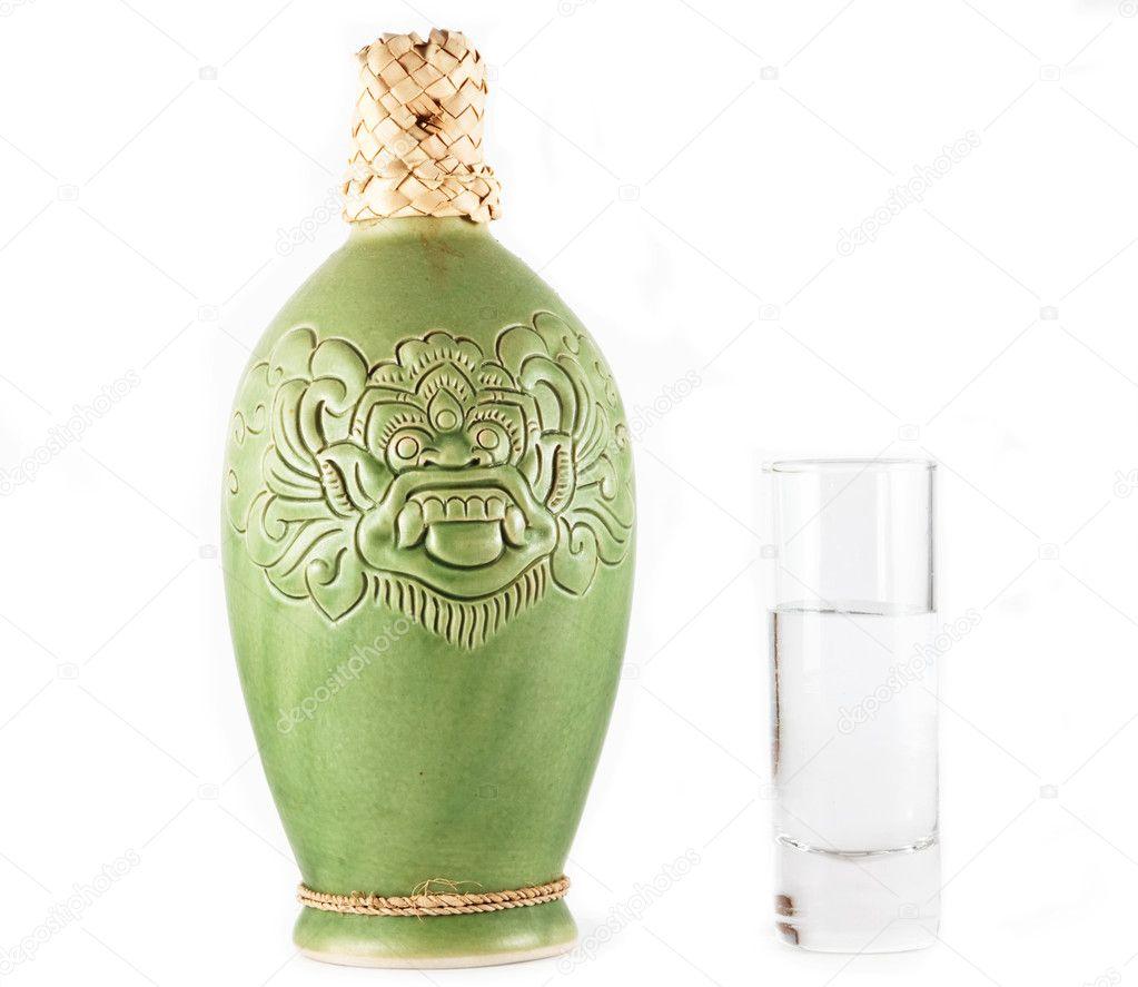 Balinese Ceramic bottle of vodka