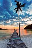 pohled na pláž s palmami a molo při západu slunce