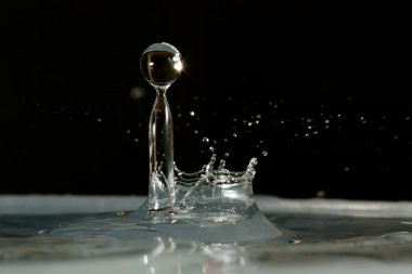 Water drop falling and colliding