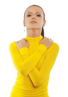 Portrait of young beautiful woman in yellow turtleneck, isolated on white background. stock vector