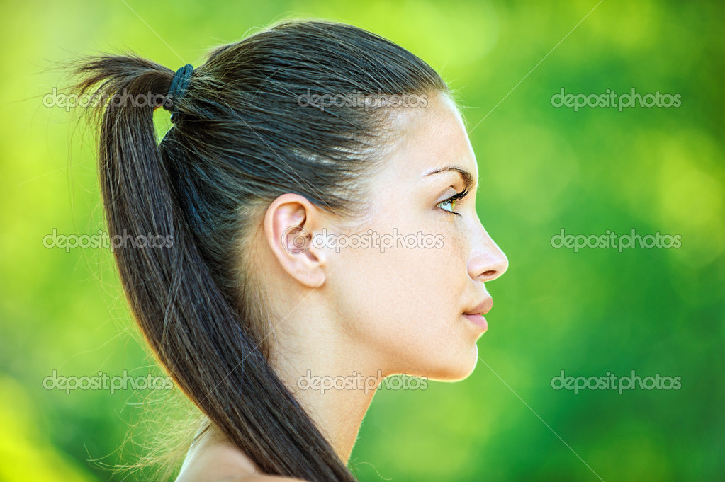 Profile of face young beautiful woman