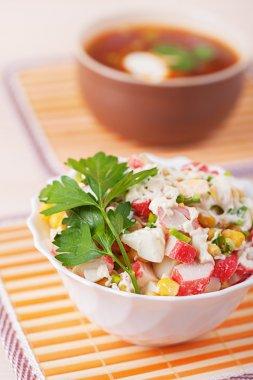 Crab salad and Russian borscht