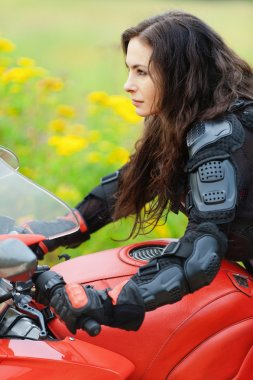 Portrait young charming woman profile motorcycle
