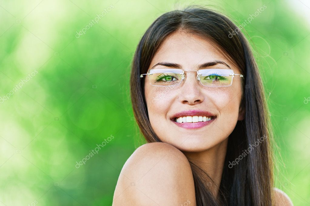 Beautiful girl dark closeups short hair glasses
