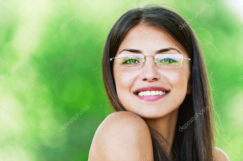 Beautiful girl dark closeups short hair glasses