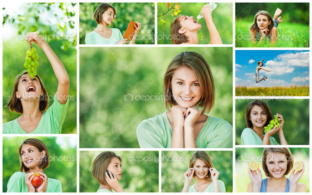 Collage of cheerful young beautiful woman