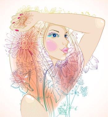"""Картина, постер, плакат, фотообои """"ручная работа красивая женщина с цветами """", артикул 10076517"""