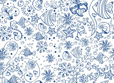 seamless sea background with fish and flowers over white
