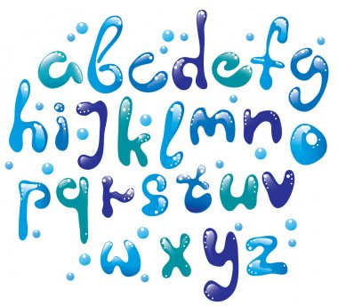 Cute glossy blue alphabet