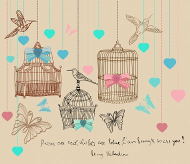 Valentine background with cages and birds