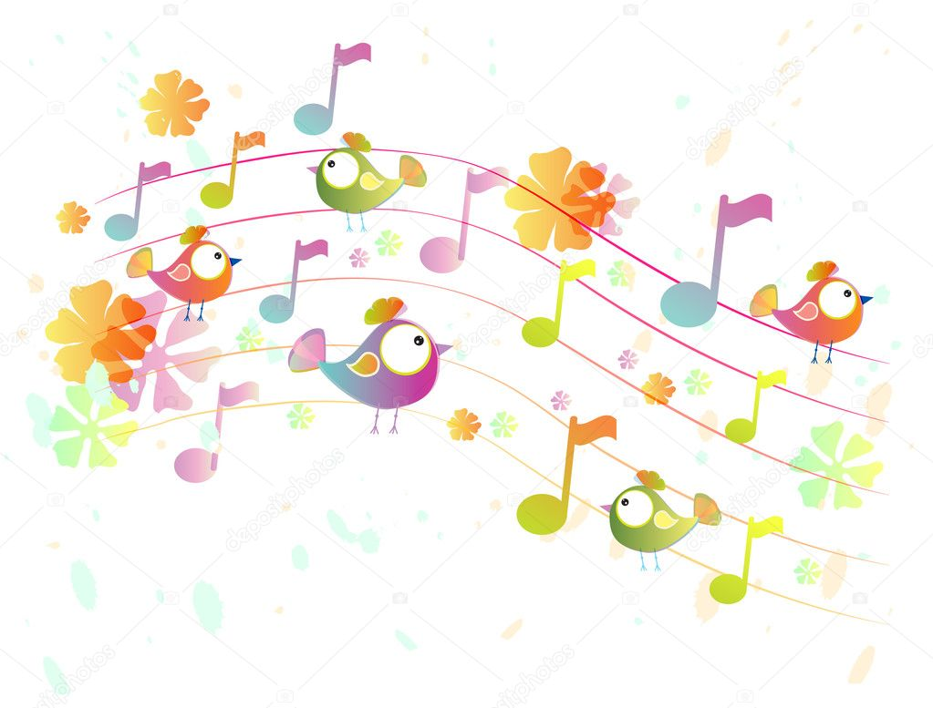 Abstract music background with birds