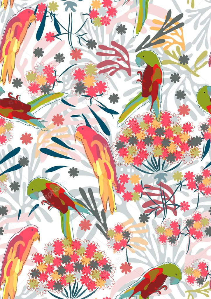 Abstract hand-drawing Seamless pattern with flowers and birds