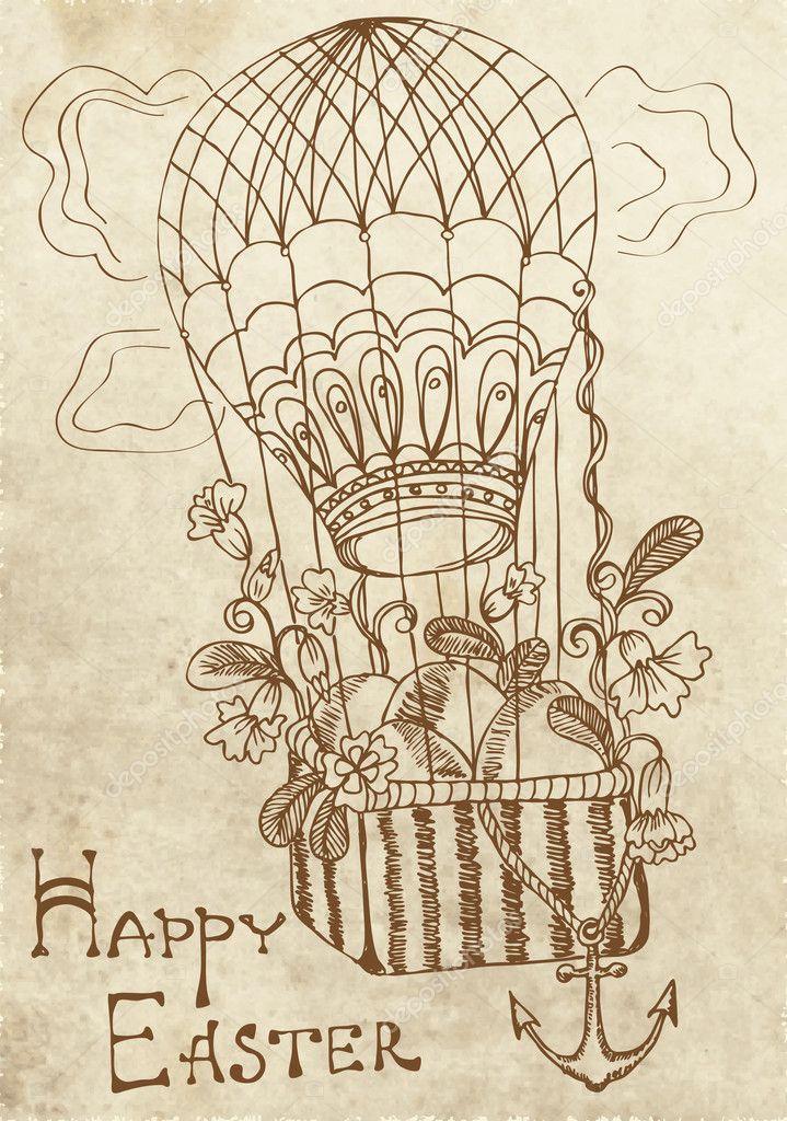 Воздушный шар ретро открытка, нарисовать прикольную