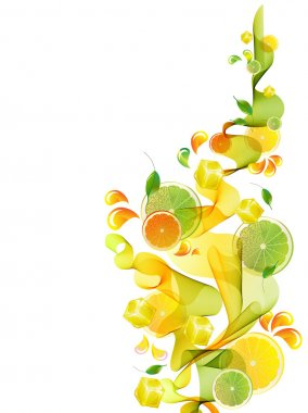 Orange and lime juice splash with abstract wave