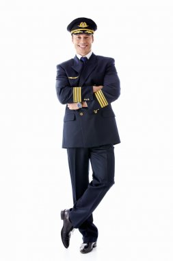 A man dressed as a pilot on a white background stock vector