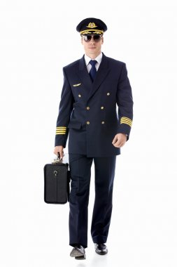 The pilot of a suitcase on a white background stock vector