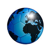Photo Soccer ball with world map isolated over white