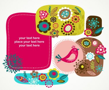 Greeting card with bird and decorative flowers